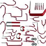 Relaxdays Wandhaken set van 30, verschillende apparaathouders, universeel, haak assortiment, PVC-coating, garage, staal, rood
