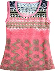Epilogue Collections Pink Baby Girl Sleeveless Top/Tshirt / Dress - Pink Printed