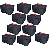 Storite 10 Pack Nylon Big Underbed Moisture Proof Storage Bag with Zippered Closure and Handle (Black, 54x46x28cm)
