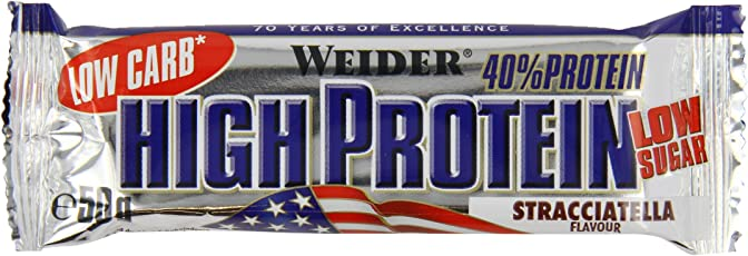Weider Low Carb High Protein Bar, Stracciatella, 24 x 50 g (1 x 1.25 kg)