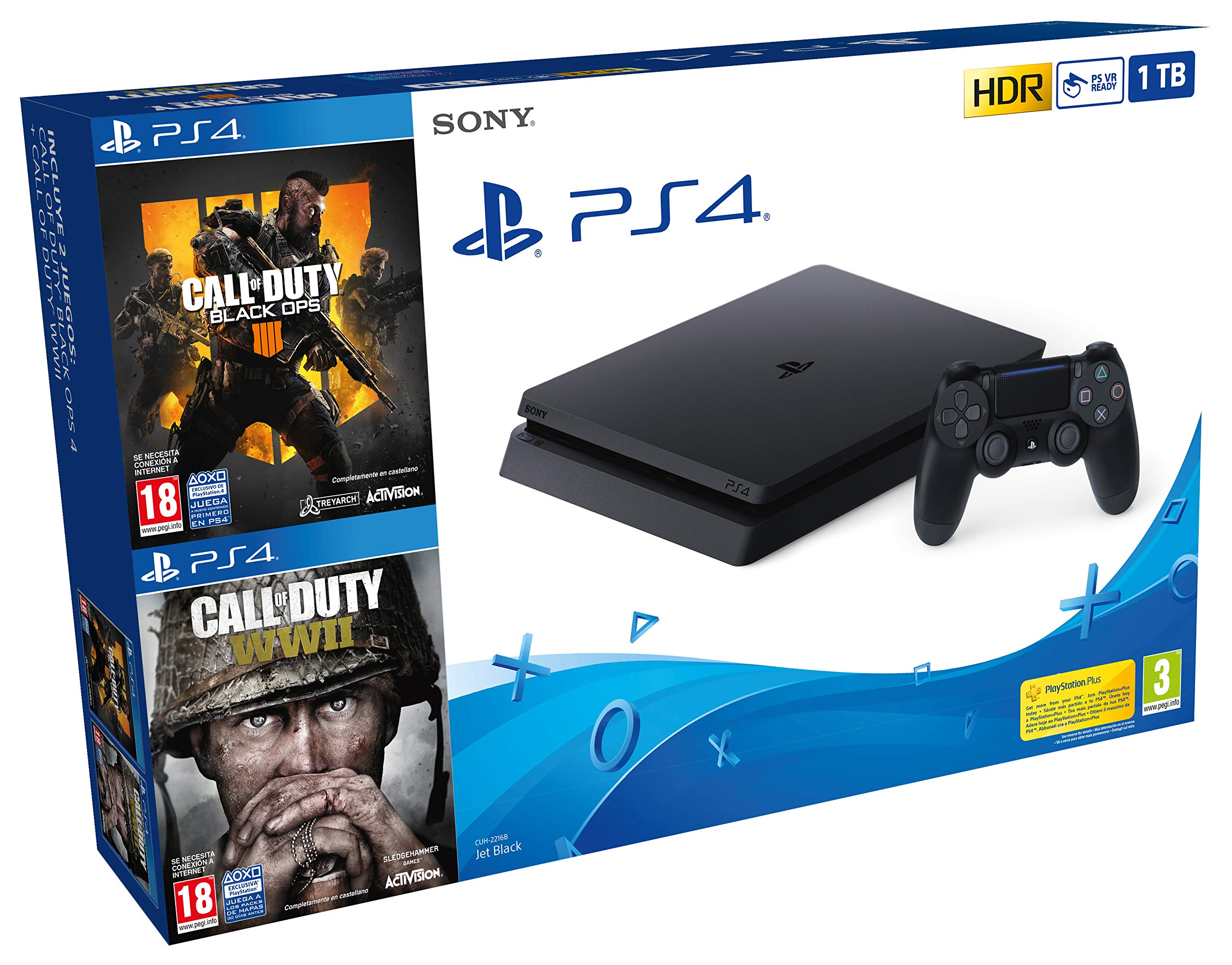 PlayStation 4 (PS4) – Consola 1 TB + COD Black Ops IIII + COD WW2