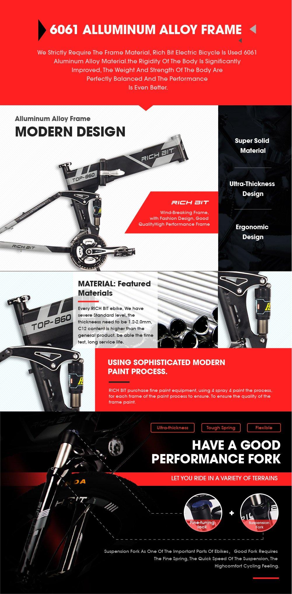 81RX5 YCG0L - RICH BIT Electric Bicycle 250W 36V 12.8Ah Lithium Battery Folding E-bike LCD Display Smart Mountain Bike Gray
