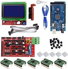 3D INNOVATIONS 3D Printer Controller, Mega 2560 Uno R3 Starter Kits, RAMPS 1.4, 5pcs A4988 Stepper Motor Driver and LCD 12864 for Arduino (CHPSS630)