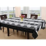 Kuber Industries Floral Cotton 6 Seater Dining Table Cover - Black (CTKTC05161)