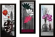 SAF UV Textured 'Flower ' Print Framed Painting Set of 3 for Home Decoration – Size 15 x 2 x 38 cm