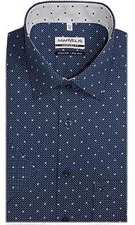 Marvelis Hemd Comfort Fit Kurzarm Oxford blau//rosa Karo 7134.52.30