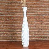 Leewadee Grand Vase Décoratif 112 cm, Bois du manguier, Blanc