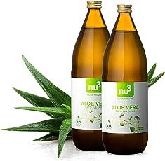 nu3 Bio Aloe Vera Saft - 2L in Glasflasche - Pflanzensaft aus den inneren Blattfilets - Reiner Saft aus biologischem Anbau - Unverdünnt & Vegan