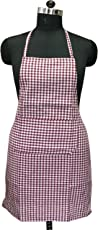 "Lushomes Maroon Mini Checks Apron with Pocket and Waterproof Backing, Single pc (Size: 25""x33"")"