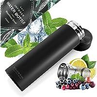 Bouteille d'eau isotherme à infusion thé & fruits + infuseur à fruit + passoire thé sans BPA | Thermos 450ml en acier…