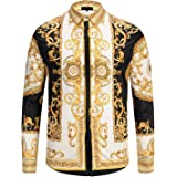 PIZOFF Camicia Stampata Stile Barocco Elegante Uomo a Maniche Lunghe
