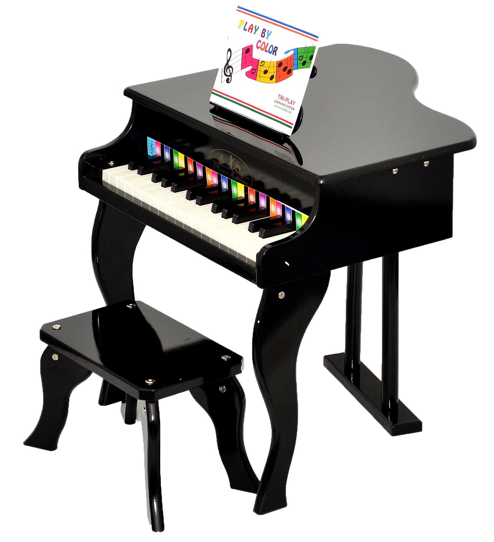 ts-ideen – Piano Infantil (para ni?os de 3 a?os, con 30 Teclas, con Colores y m?Todo con Canciones), Color Negro