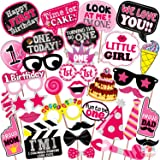 WOBBOX First Birthday Photo Booth Party Props Pink for Baby Girl , 1st Birthday Decorations for Girl , Kids Birthday Party De
