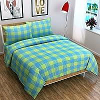 BADOTI Cotton 144 TC Bedsheet (Blue & Yellow_Double)