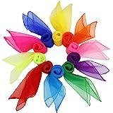FT-SHOP Pañuelos de Baile 20 Piezas Pañuelos de Malabares Multicolor Cuadrado Pañuelos Mágicos de Seda para Niños Chicas Acti