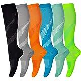 Compressie sokken voor mannen en vrouwen (6 paar) antislip lange buis ideaal voor hardlopen, verpleging, circulatie en herste