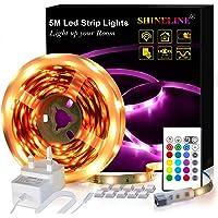 LED Strips Lights 5M, SHINELINE 16.4Ft RGB SMD 5050 Dimmer Led Strip Lights with Remote Mood Light for Home Kitchen Christmas Wedding Party DIY Decoration