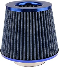 Generic Automotive Air Filter Round Tapered Universal Cold Air Intake - blue