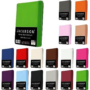 Jacobson Jersey Spannbettlaken Spannbetttuch Baumwolle Bettlaken (60x120-70x140 cm, Pink)
