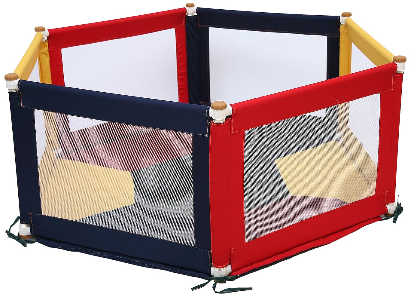 TikkTokk Pokano Fabric Playpen/Mat (Hexagonal, Colourful) TikkTokk Fabric Baby Playpen - keep baby safe & secure whilst providing a large play area Crafted in beautiful, durable polycotton Thick padded, fitted floor mat 2