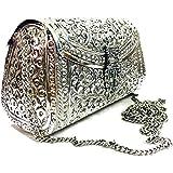 Trend Overseas women gift bridal bag Silver Brass Metal Clutch Sling Bag Indian Ethnic Antique clutch