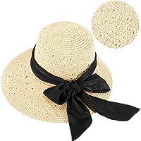 GIKPAL Cappello di Paglia Donna, Cappelli Estivo da Sole in Paglia a Tesa Larga con Fiocco, Protezione UV Paglia da…