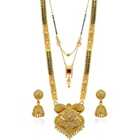 Brado Jewellery Traditional Necklace Pendant Gold Plated Hand Meena 30inch Long and 18inch short with 2 inch Earring Set…