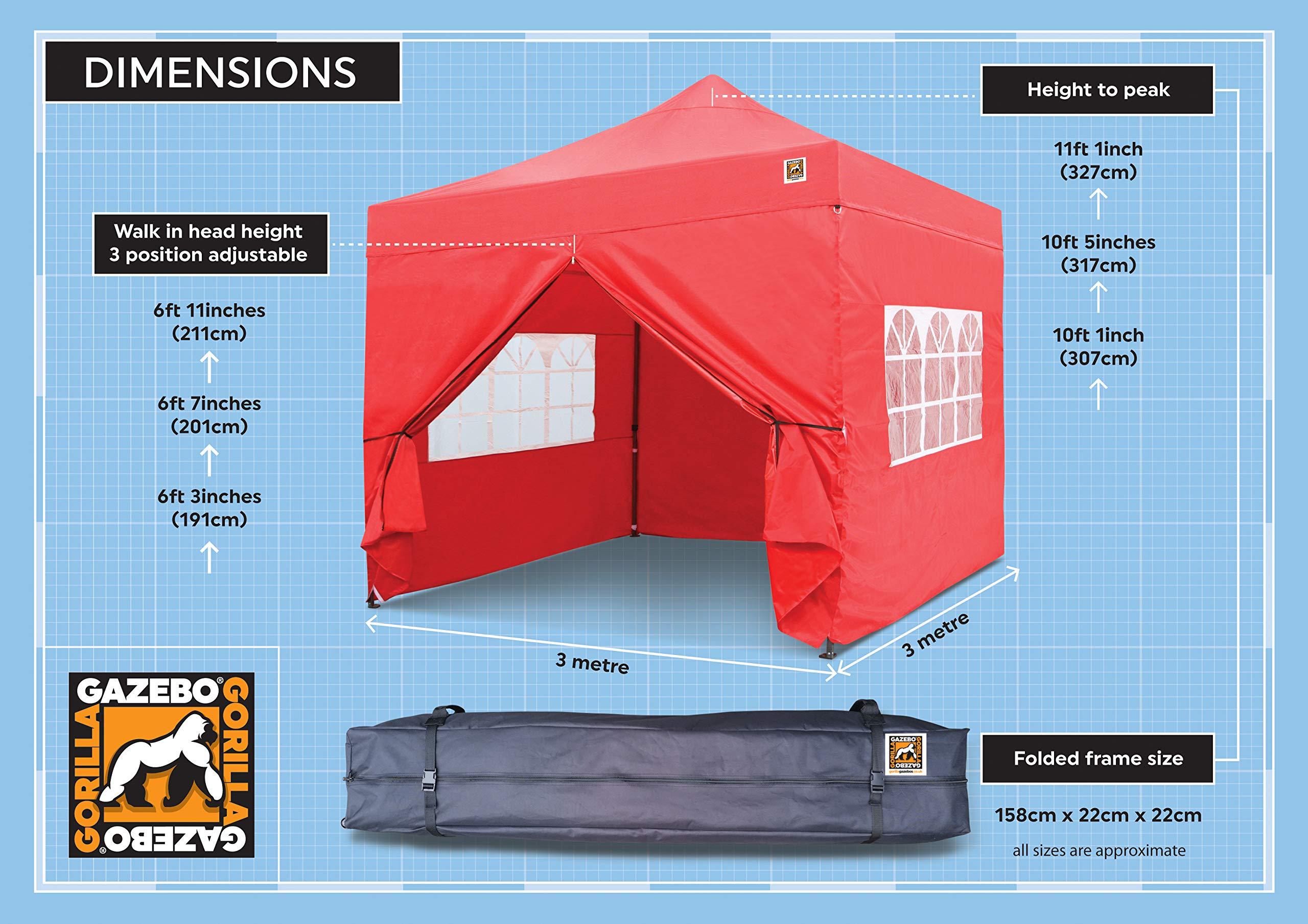Gorilla Gazebo ® Pop Up 3x3m Heavy Duty Waterproof Commercial Grade Market Stall 4 Side Panels and Wheeled Carrybag… 4