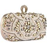 Abendtasche Damen Diamant Clutch Bag Kette Shiny Strass Handtasche Klein Tasche für Hochzeit Party - Champagner Gold