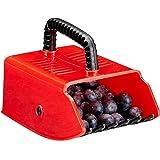 Relaxdays, rood/zwarte bessenplukker, oogsthulp, kunststof, voor bosbessen, aalbessen, blauwe bessen, bessenkam