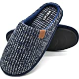 ONCAI Mens Slippers Memory Foam Slippers Slip On Warm Fluffy House Indoor/Outdoor Shoes With Anti-skid Sole