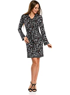 oodji Ultra Women's Long Sleeve Cotton Dress: Amazon.co.uk