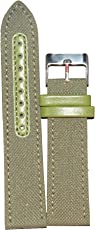 Like 22Mm Denim+Leather Watchband (Green)
