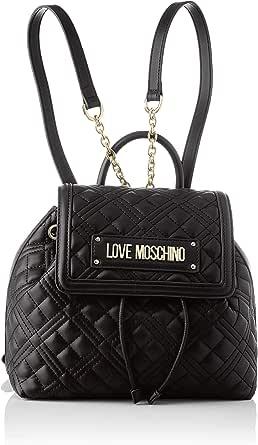 Love Moschino Precollezione ss21, Zaino PU, New Shiny Quilted Donna, Nero, Medium