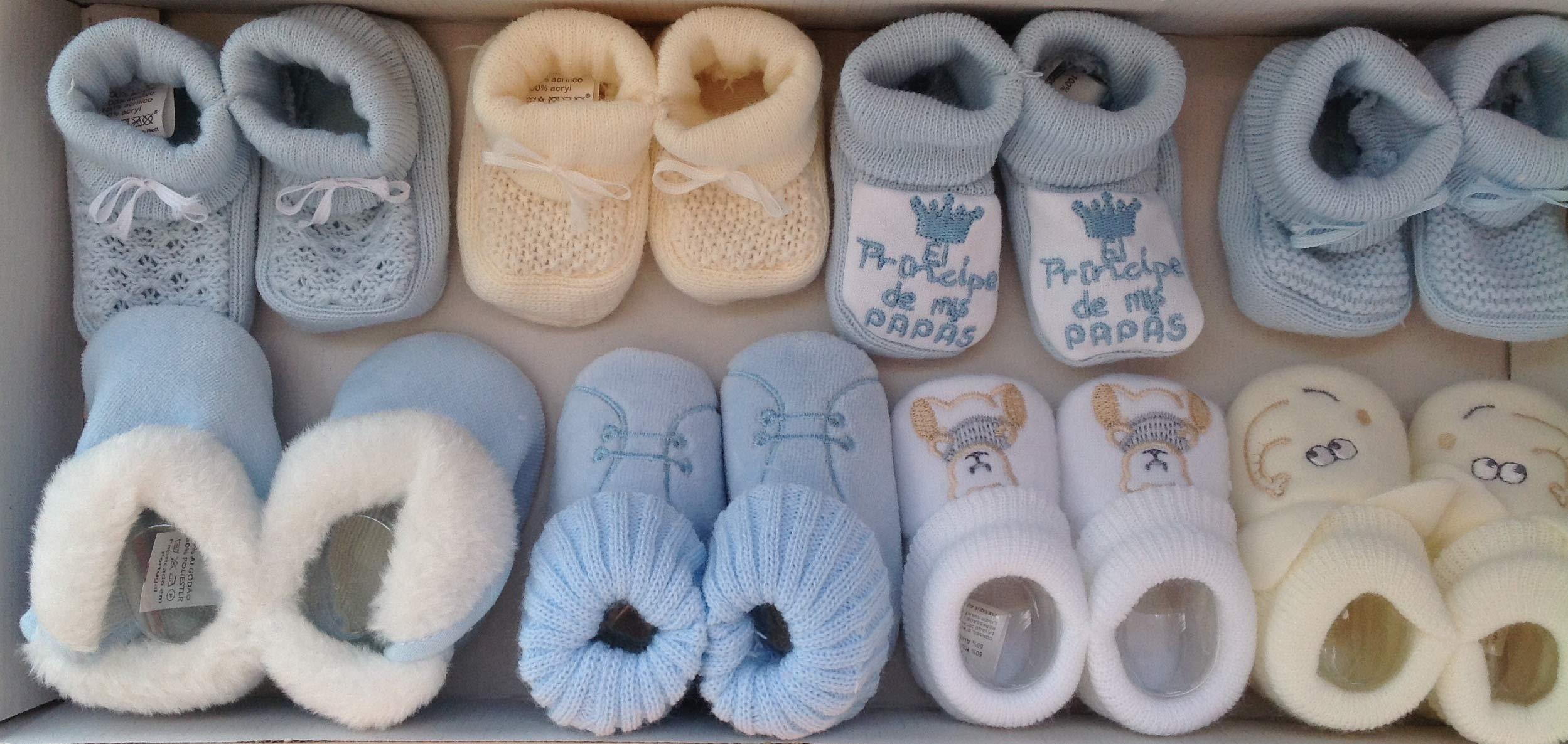 Patucos Bebe Niño 8 Pares De Punto Bebe y Tacto Terciopelo en Color Azul ¡100% GARANTIA DE DEVOLUCION DE SU DINERO! 1