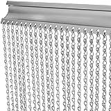 VerRich 90 * 200cm aluminium kettinggordijndeur Horren Zilver metalen vliegengordijn Insectengordijnen Ongediertebestrijding