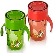 Philips Avent Truman Desenli Magic Alıştırma Bardağı Kırmızı Yeşil, 260Ml