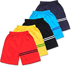 T2F Boy's and Girl's Cotton Shorts - Pack of 5