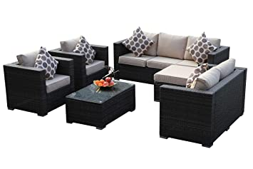 Nice YAKOE Rattan Garden Furniture Table Chairs Sofa Set   Brown