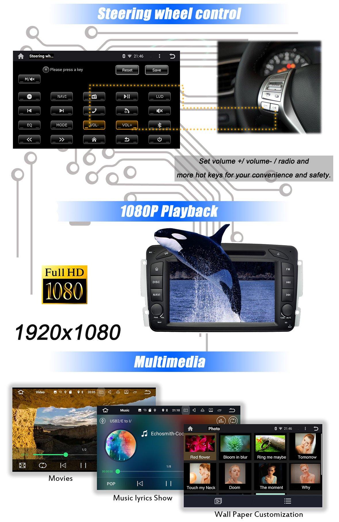 Ohok-7-Zoll-Bildschirm-2-Din-Autoradio-Android-800-Oreo-Radio-mit-Navi-DVD-GPS-Navigation-Untersttzt-Bluetooth-DAB-fr-Mercedes-Benz-C-ClassCLKA-Class-mit-Klein-Rckfahrkamera