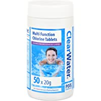 Clearwater CH0019 1 kg Multifunction Chlorine Tablets, 4-in-1 Dispenser Tablets (Sanitiser, Stabiliser, Algaecide and Clarifier) for Pools and Hot Tubs, 50 x 20 g