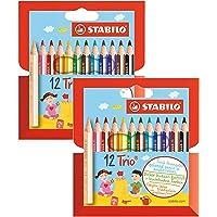 STABILO Trio Lot de 2 boîtes de 12 crayons de couleur triangulaires