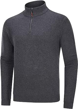 TACVASEN Men's Jumper Quarter Zip Neck Sweater Mock Neck Casual Work Pullover Knitted Jumper