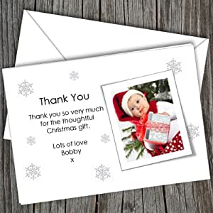10 Personalised Christmas Photo Thank You Cards (SBD 135) Free UK DELIVERY