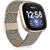 Funbiz Metaal Bandje Compatibel met Fitbit Versa 3 Bandjes/Fitbit Sense Bandje, Roestvrijstalen Metaal Vervangende Polsband m