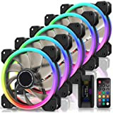 EZDIY-FAB Ventilateurs à Double Anneau RGB 120mm,5V Sync Carte Mère,Vitesse Réglable,Ventilateur RGB Sync avec Moyeu de Venti