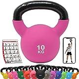 POWRX Kettlebell Neoprene 2-26 kg inkl. Workout I kettlebell vikter hantelvikter I golvsparande swing kettlebells