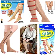 Zippered Medical Compression Socks with Zipper Safe Guard & Open Toe Support Stockings for Men & Women ox Socks Stretchy Zipp