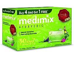 Medimix Ayurvedic Natural Glycerine Bathing Bar, 125 g (4 + 1 Offer Pack)