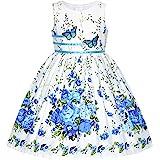 Sunny Fashion Vestido para niña Morado Rosa Flor Doble Corbata de moño Fiesta niños Sol 4-12 años